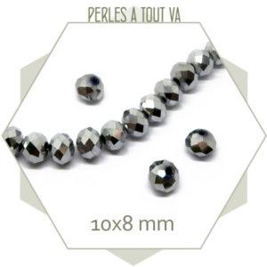 24 perles de verre à facettes argent 8x10 mm
