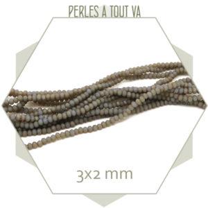 200 perles de verre à facettes donuts gris ombré mat 3x2 mm