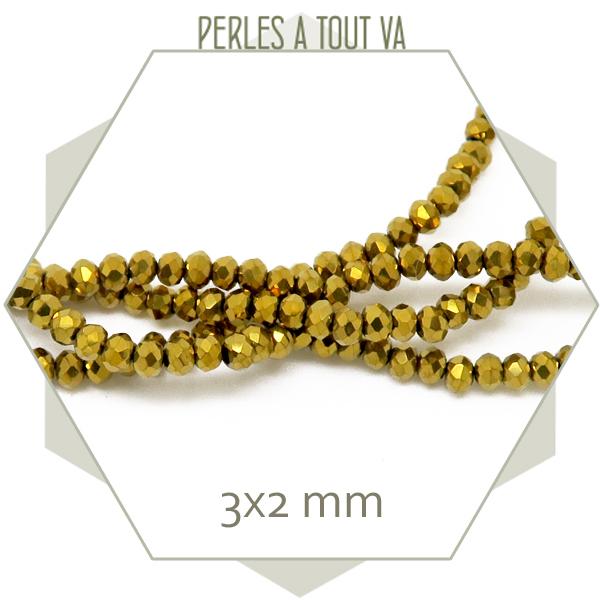 190 perles donuts à facettes en verre dorées, 3x2 mm