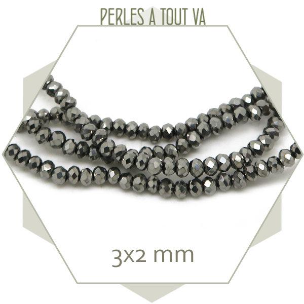 190 perles de verre à facettes donuts argent, 3x2 mm