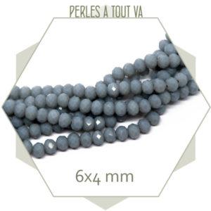 95 perles de verre à facettes donuts gris bleuté 6x4 mm