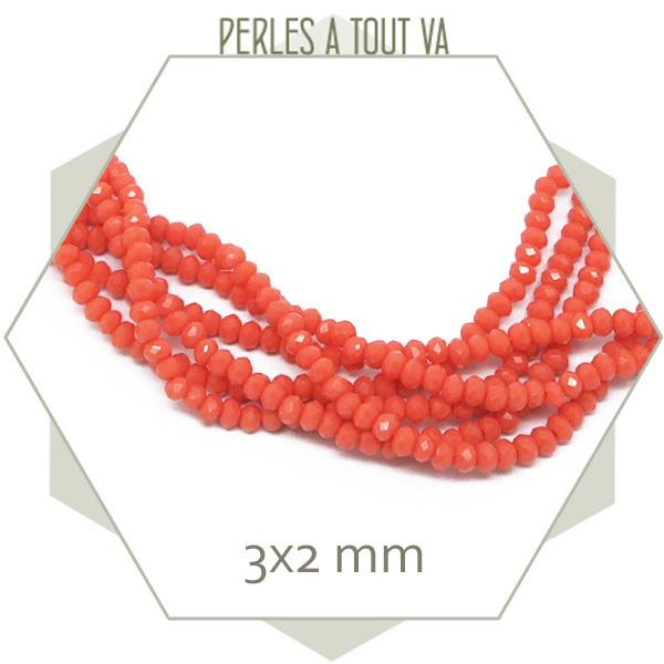 190 perles de verre donut rose orangé, corail  3x2 mm