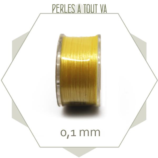 Bobine 45m fil ciré polyester FGB pour tissage, jaune