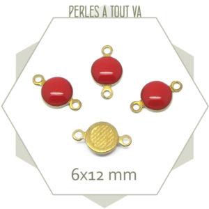 10 minis connecteurs émaillés une face, ronds rouge
