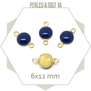 10 minis connecteurs émaillés une face, ronds bleu nuit