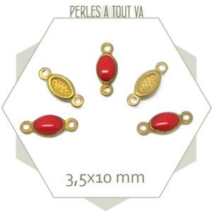 10 minis connecteurs émaillés une face, ovales rouge