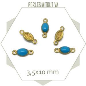 10 minis connecteurs émaillés une face, ovales turquoise