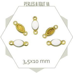 10 minis connecteurs émaillés une face, ovales blanc