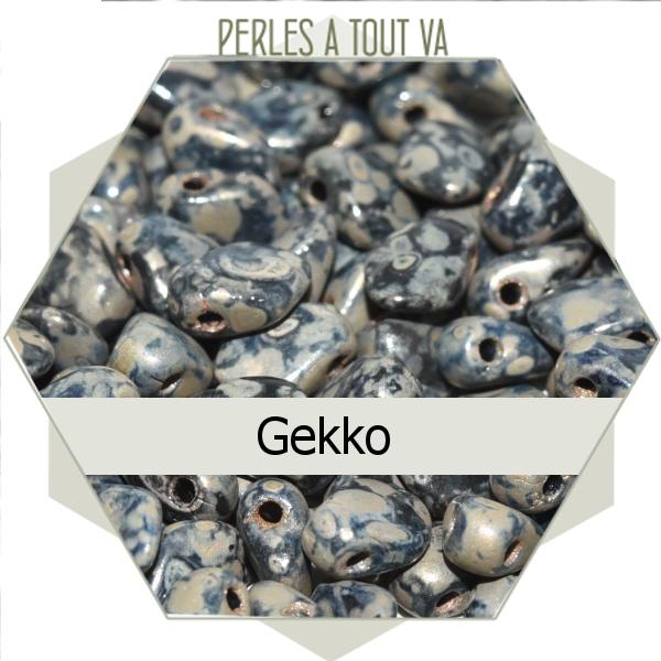 perles Gekko, jet picasso 5g, perles de verre Tchèque losange
