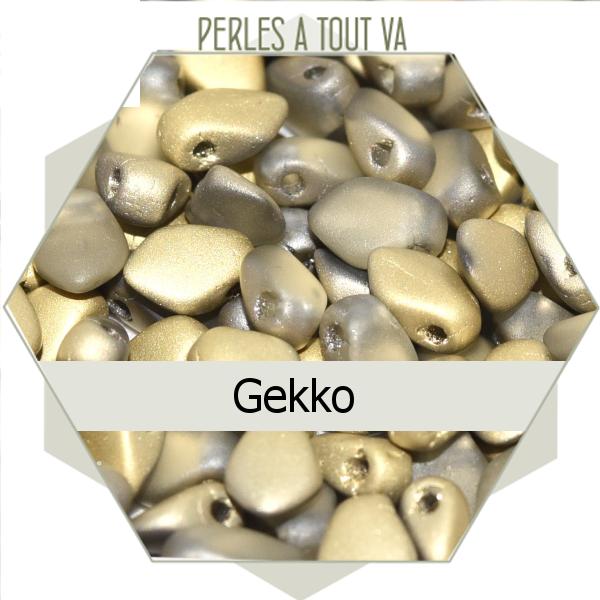 perles Gekko, cristal ambre mat 5g, perles de verre Tchèque losange