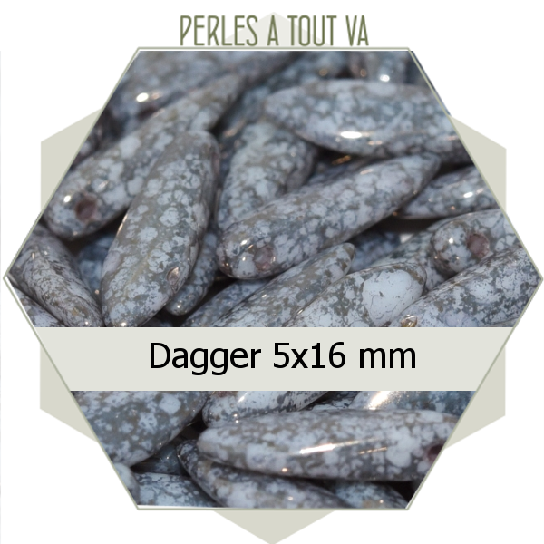 perles daggers, gris moucheté  mat 8g , perles de verre Tchèque