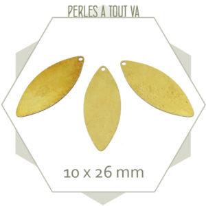 20 breloques navettes laiton brut à polir/plaquer, grossiste