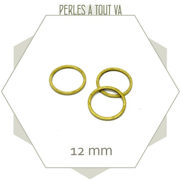 20 anneaux fermés cercle 12 mm laiton brut doré