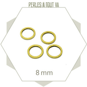 20 anneaux fermés cercle 8 mm laiton brut doré