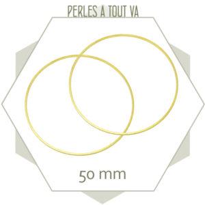 12 anneaux fermés cercle 50 mm laiton brut doré