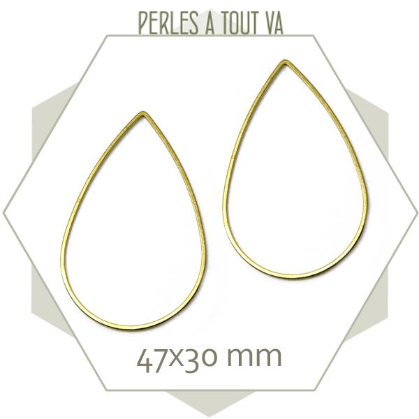 12 anneaux fermés grandes gouttes laiton brut doré