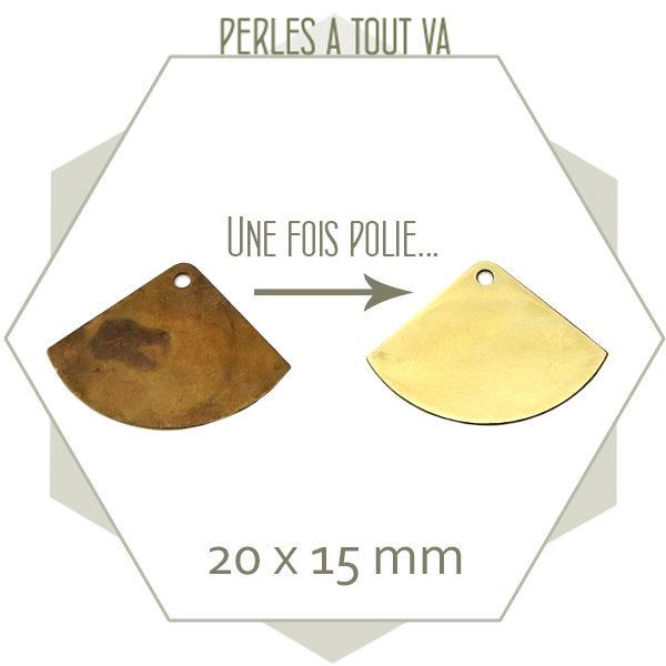 20 breloques éventails lisses laiton brut à polir ou plaquer