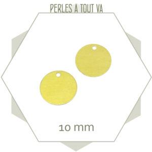 30 breloques cercles lisses laiton brut 10mm, création bijoux