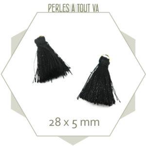 10 pompons noirs 28x5mm avec anneau