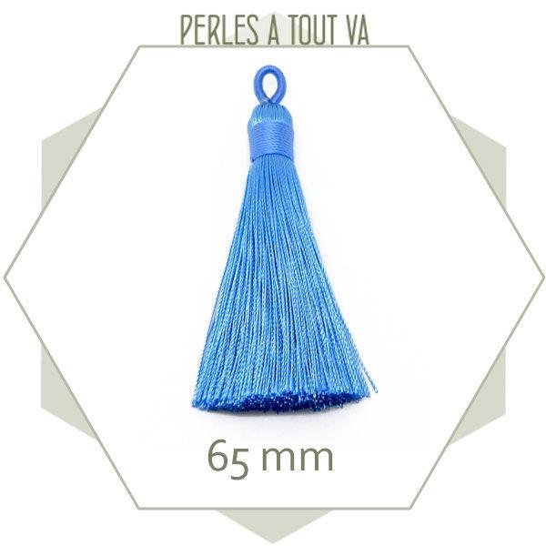 1 pompon bleu clair 65 mm avec boucle création bijoux