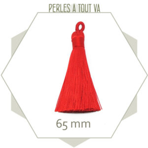 1 pompon rouge vif 65 mm avec boucle, matériel création bijoux