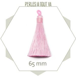1 pompon rose clair 65 mm avec boucle, matériel création bijoux