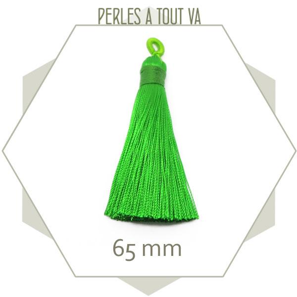 1 pompon vert fluo 65 mm avec boucle, matériel création bijoux