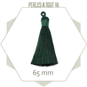 1 pompon vert foncé 65 mm avec boucle, matériel création bijoux