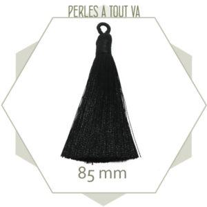 1 pompon noir 85 mm avec boucle, matériel création bijoux
