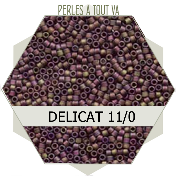 Perles Miyuki délicas Matted Transp Dk.Cranberry AB 5g, perles de rocaille