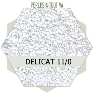 Perles Miyuki délicas Opaque Chalk White 5g, perles de rocaille