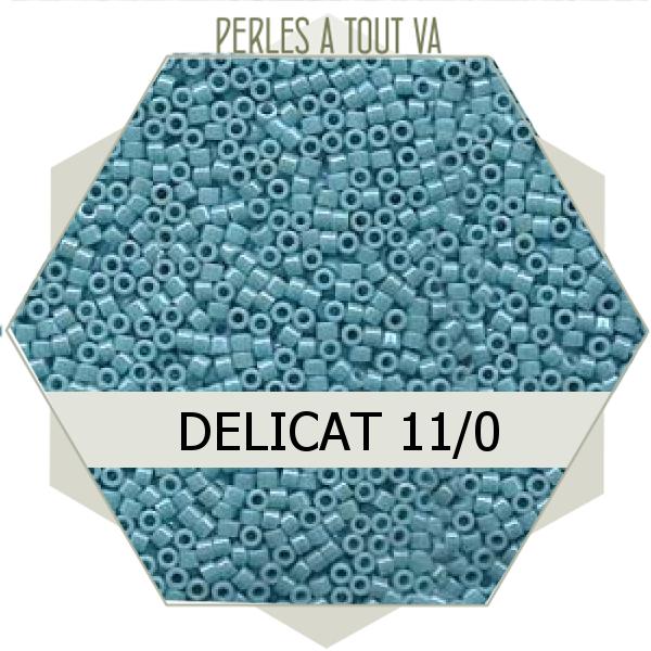 Perles Miyuki délicas Opaque Lt. Aqua Luster 5g, perles de rocaille