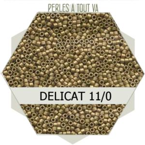 Perles Miyuki délicas Metallic Olive Gold Matted 5g, perles de rocaille