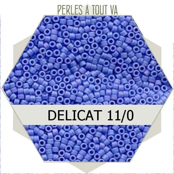 Perles Miyuki délicas Opaque Lt. Blue AB Matted 5g, perles