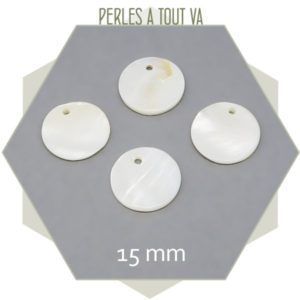 10 sequins nacrés ronds 15 mm