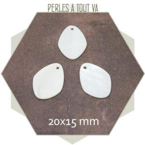 10 navettes en nacre 20x15 mm