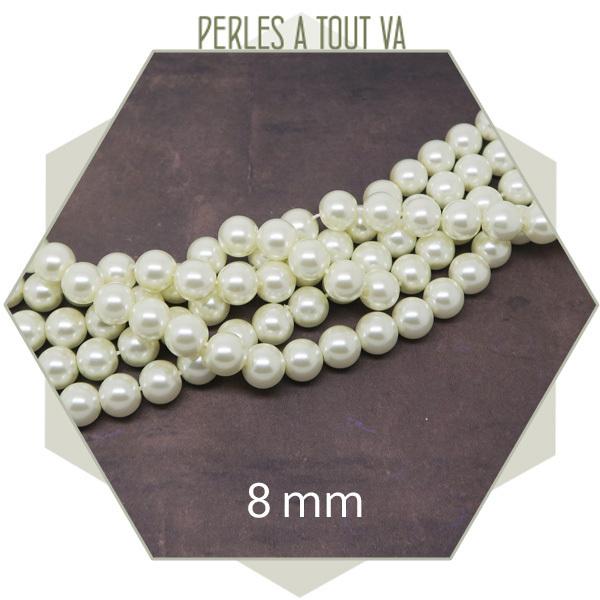 50 perles de verre nacrées 8 mm
