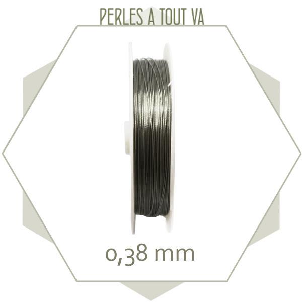 100 m de fil câblé 0.38 mm couleur acier