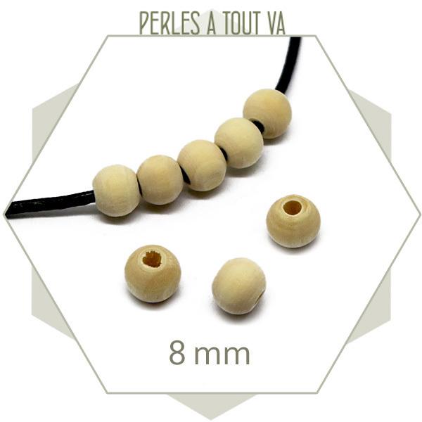 100 perles 8 mm bois brut clair