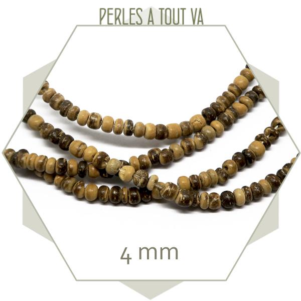 Rang 40 cm de perles de coco 4mm (environ 130 p.)