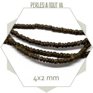 160 perles de noix de coco marron 4x2mm
