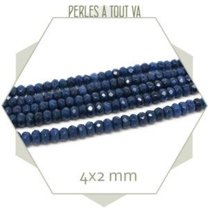 50 perles de jade 4x2 mm bleu marine