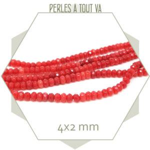 50 perles de jade 4x2 mm orange foncé