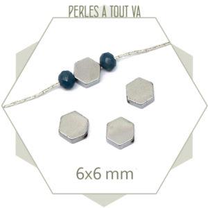 20 perles hématites hexagonales couleur argent, pièces pour bijoux uniques