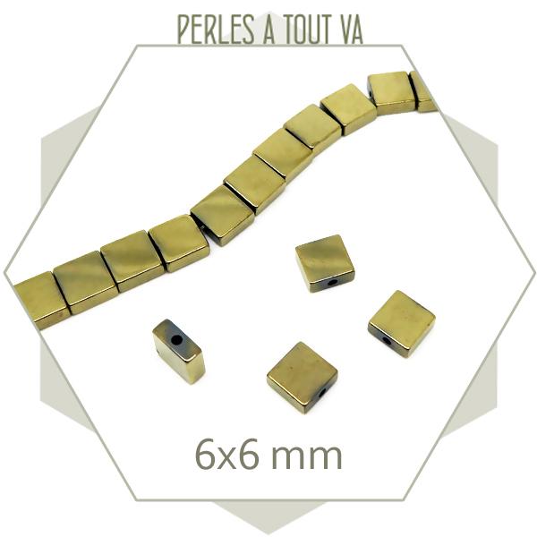 65 perles carrées dorées, carrés plats en hématite couleur doré clair