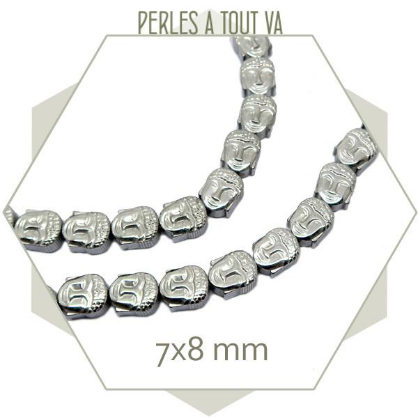 16 perles bouddha en hématite couleur argent