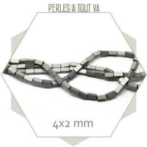 95 perles rectangle en hématite couleur argent mat