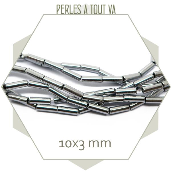 40 perles tubes en hématite métallisé argent