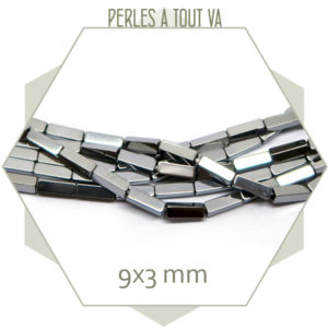 45 perles rectangulaires en hématite métallisé argent