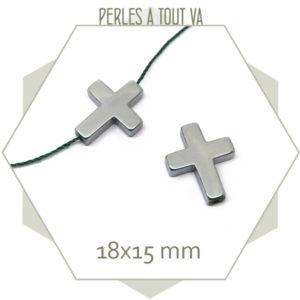 6 perles croix en hématite argentée